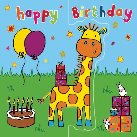 Giraffe Birthday Card, Sparkly Card,  Pop Out Card TW195